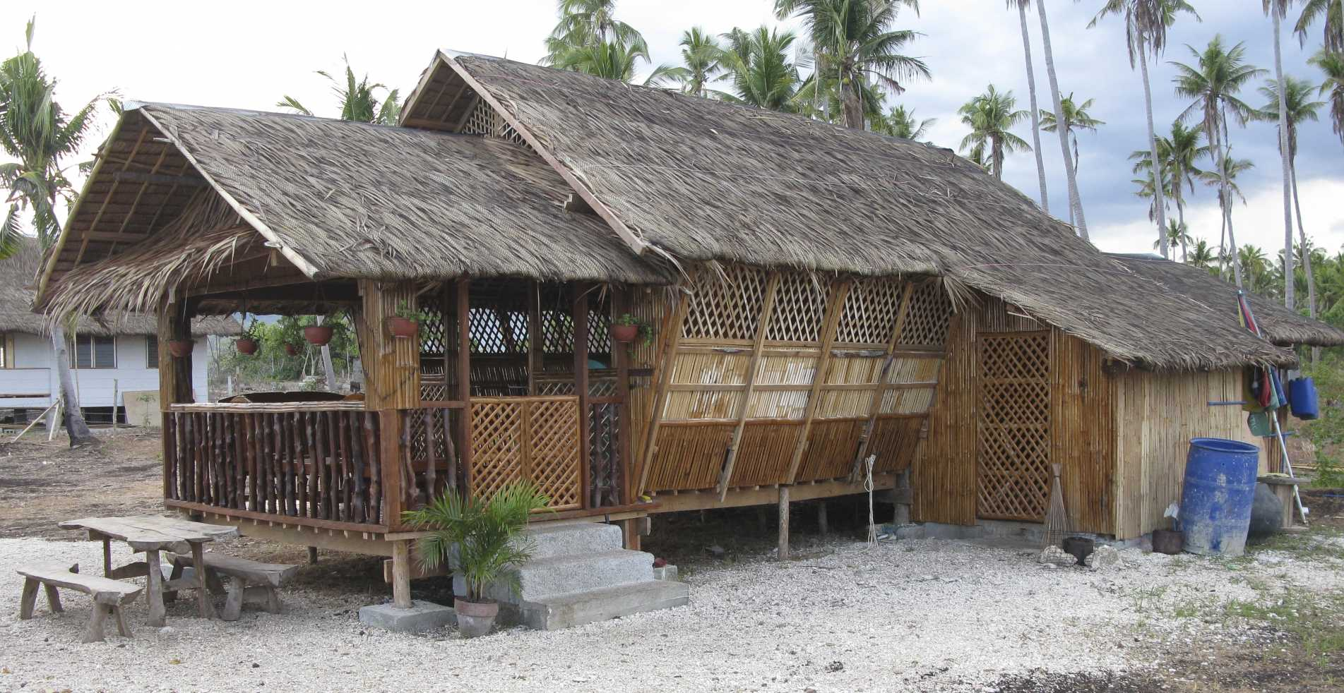 Made of woven nipa or coconut fronds or cogon grass walls made of thin strips of bamboo or woven into a mat called sawali or amakan both those things
